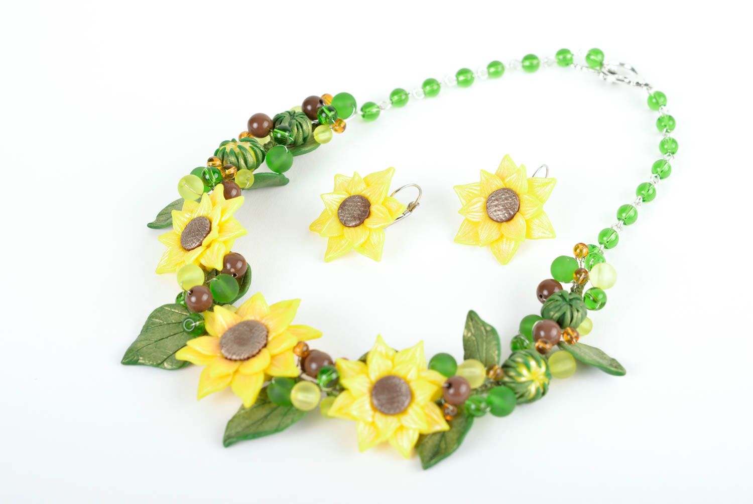 Beautiful flower jewelry set accessories in ethnic style handmade necklace photo 1