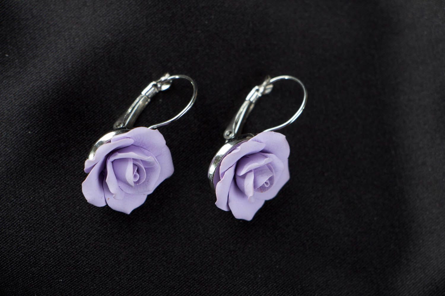 Polymer clay earrings Violet Roses photo 1