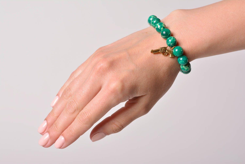 Handmade designer wrist bracelet with green pressed variscite beads for women photo 1