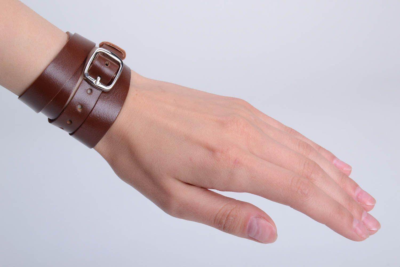 Unusual beautiful wide genuine leather bracelet designer unisex accessory photo 2