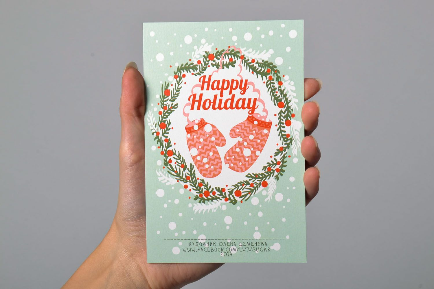 Postcard with designer pattern Happy Holiday photo 5
