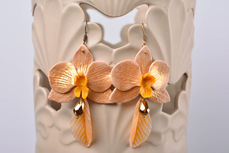 Beautiful handmade designer polymer clay flower earrings of average size photo 1