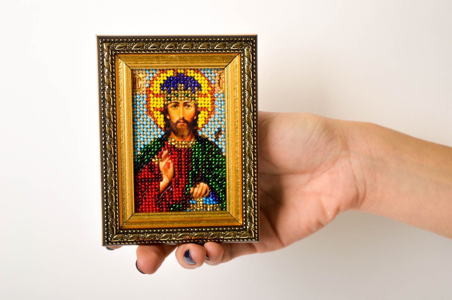 Handmade beautiful designer icon embroidered orthodox icon religious present photo 5