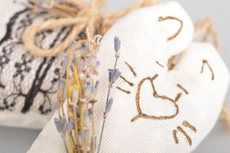 Set of 2 handmade decorative heart shaped fabric wall hanging sachet pillows  photo 4