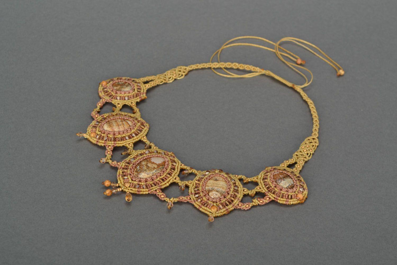 Massive woven necklace with jasper photo 3