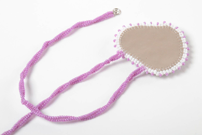 Unusual handmade beaded pendant stylish pendant woven of beads fashion accessory photo 4