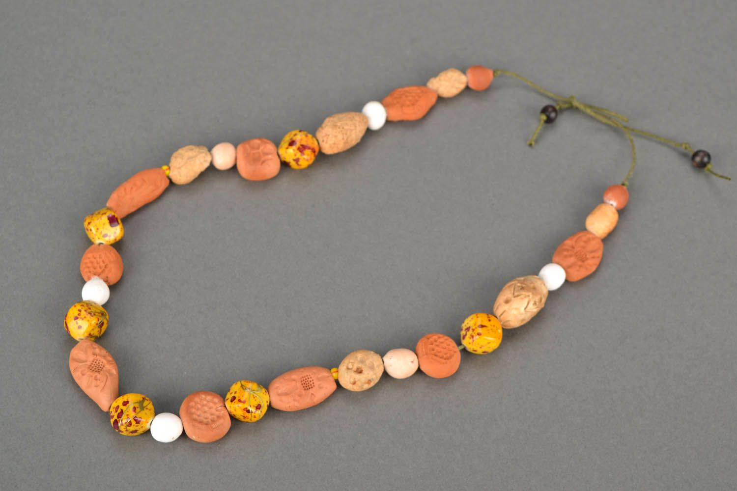 Clay beaded necklace Ethnic photo 3