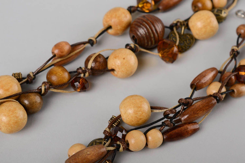 Деревянные украшения ручной работы деревянные бусы длинные женский браслет фото 4