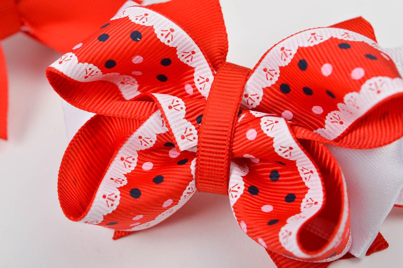 Handmade designer hair ties unusual bow hair ties 2 tender accessories for kids photo 4