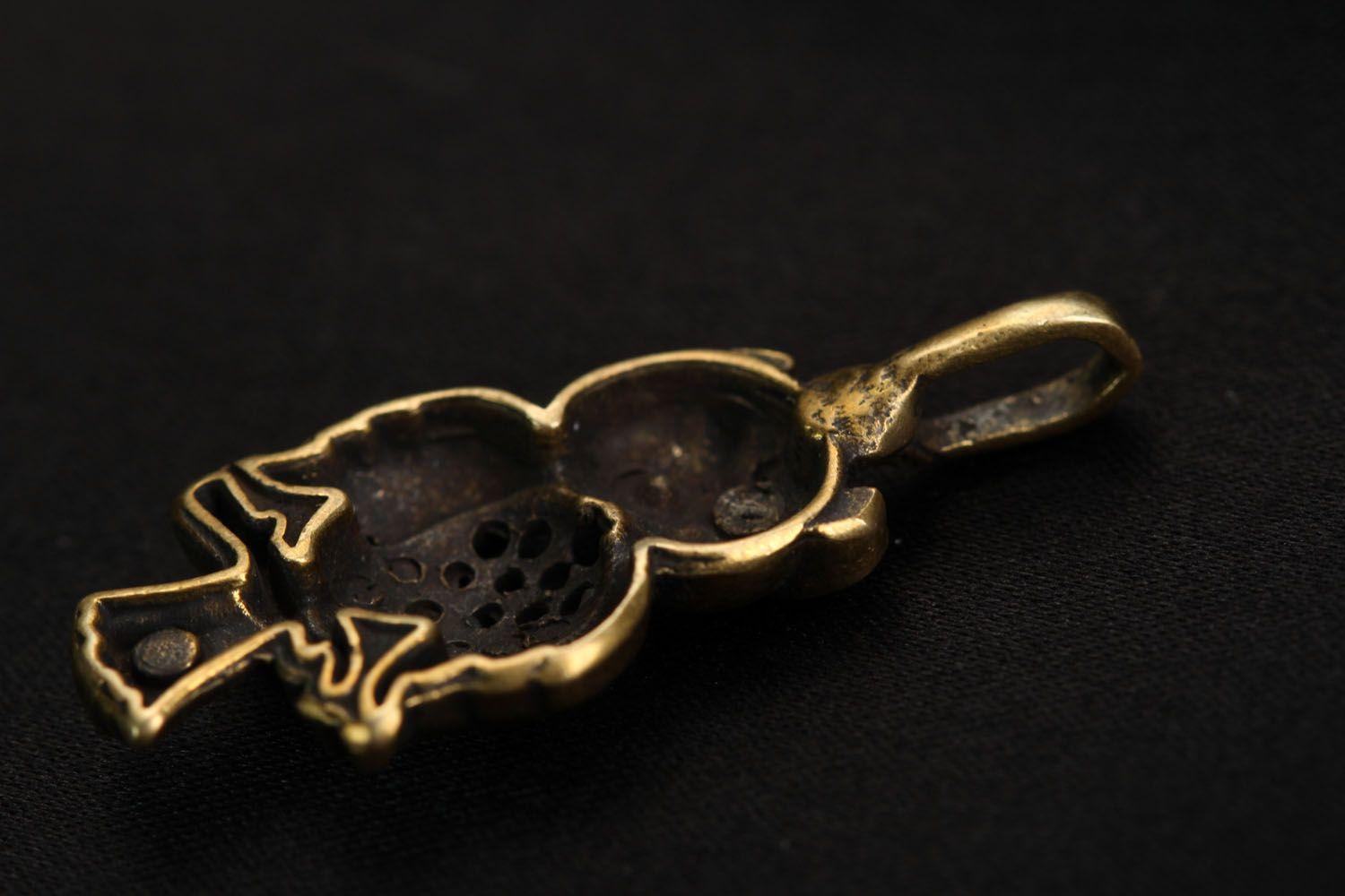 Bronze pendant Owl photo 4