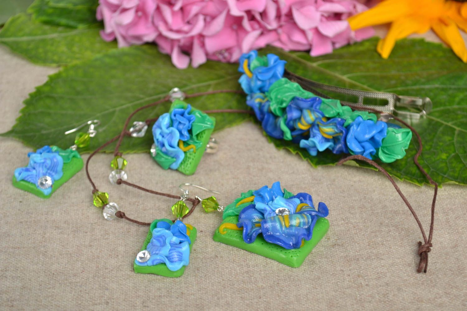 Handmade jewelry set flower necklace dangling earrings hair clip seal ring photo 1