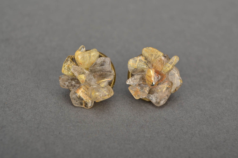 Quartz stud earrings  photo 3