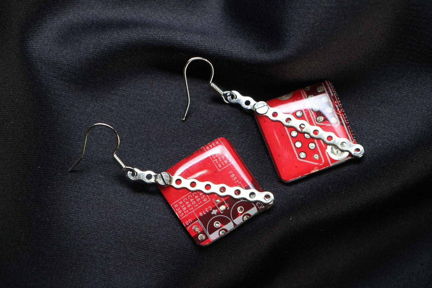 steampunk earrings Earrings with microchips - MADEheart.com