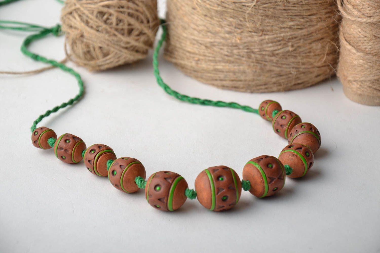 Broe=wn ceramic bead necklace photo 1
