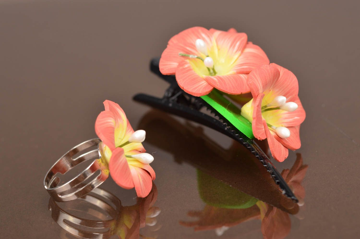Sets Set of handmade jewelry created of polymer clay 2 accessories hair clip and ring - MADEheart.com