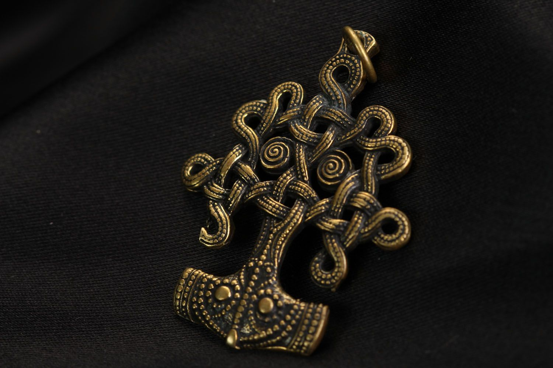 Unusual bronze pendant Iggdrasil photo 1