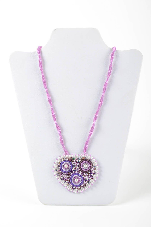 Unusual handmade beaded pendant stylish pendant woven of beads fashion accessory photo 2