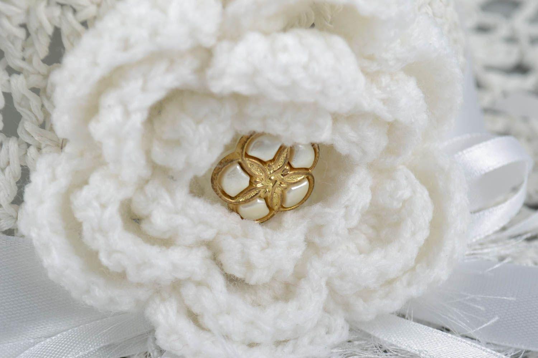 headwear Handmade white designer crocheted lacy summer hat with white flower for women - MADEheart.com