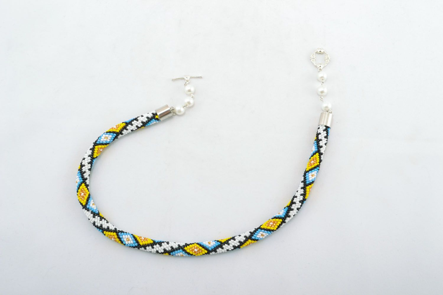 Bright beaded cord necklace Carpathian photo 2