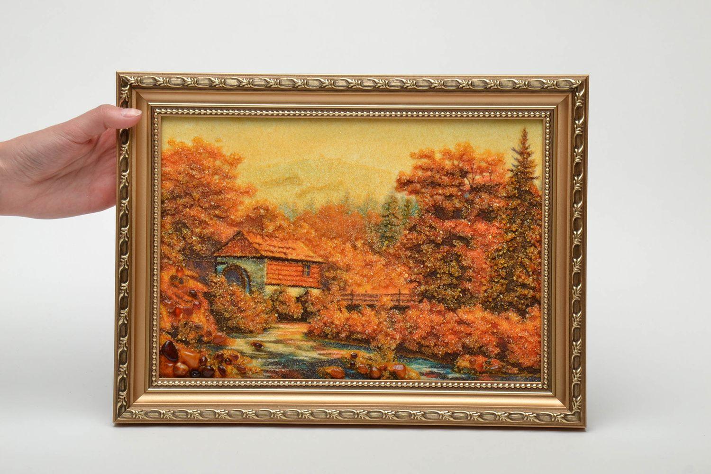 Tableau paysage en ambre mural fait main photo 5