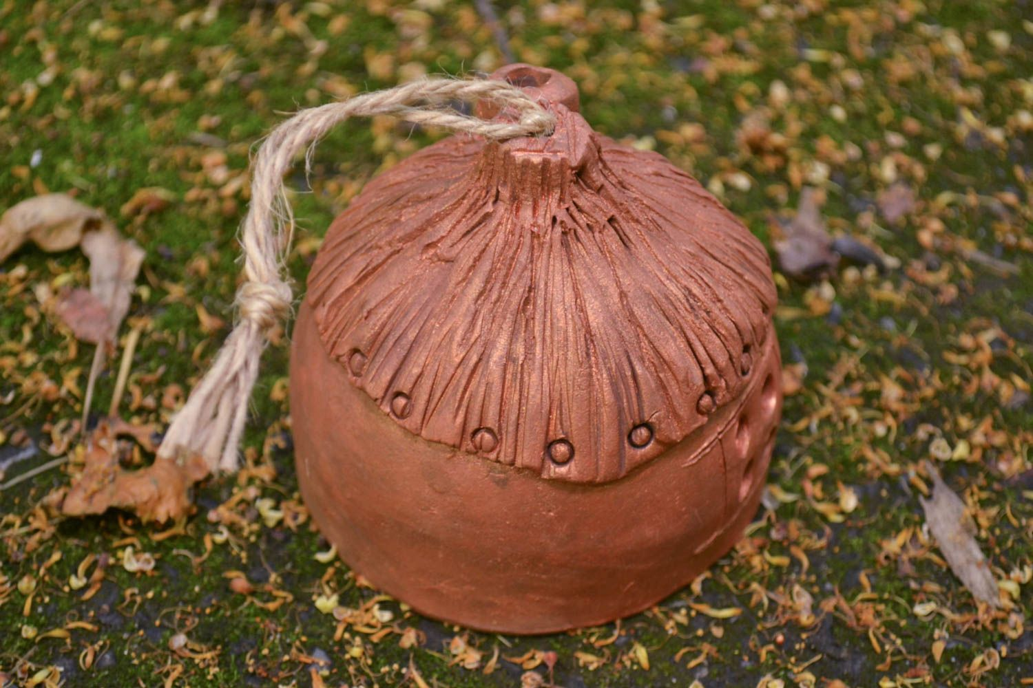 Unusual handmade ceramic bell clay bell wall hanging decorative use only photo 5