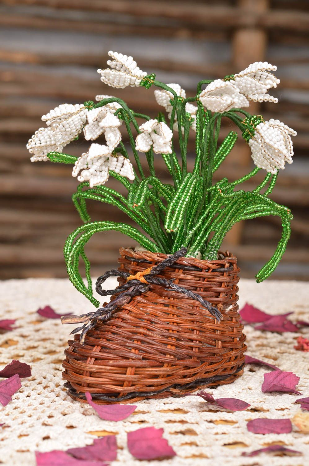 Handmade artificial beaded flower composition in straw boot shaped cachepot photo 1