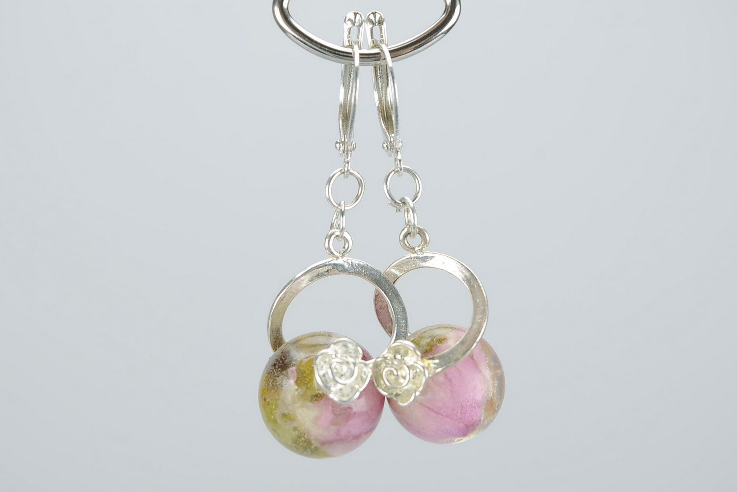 dangle earrings Earrings made from buds of a tea rose - MADEheart.com