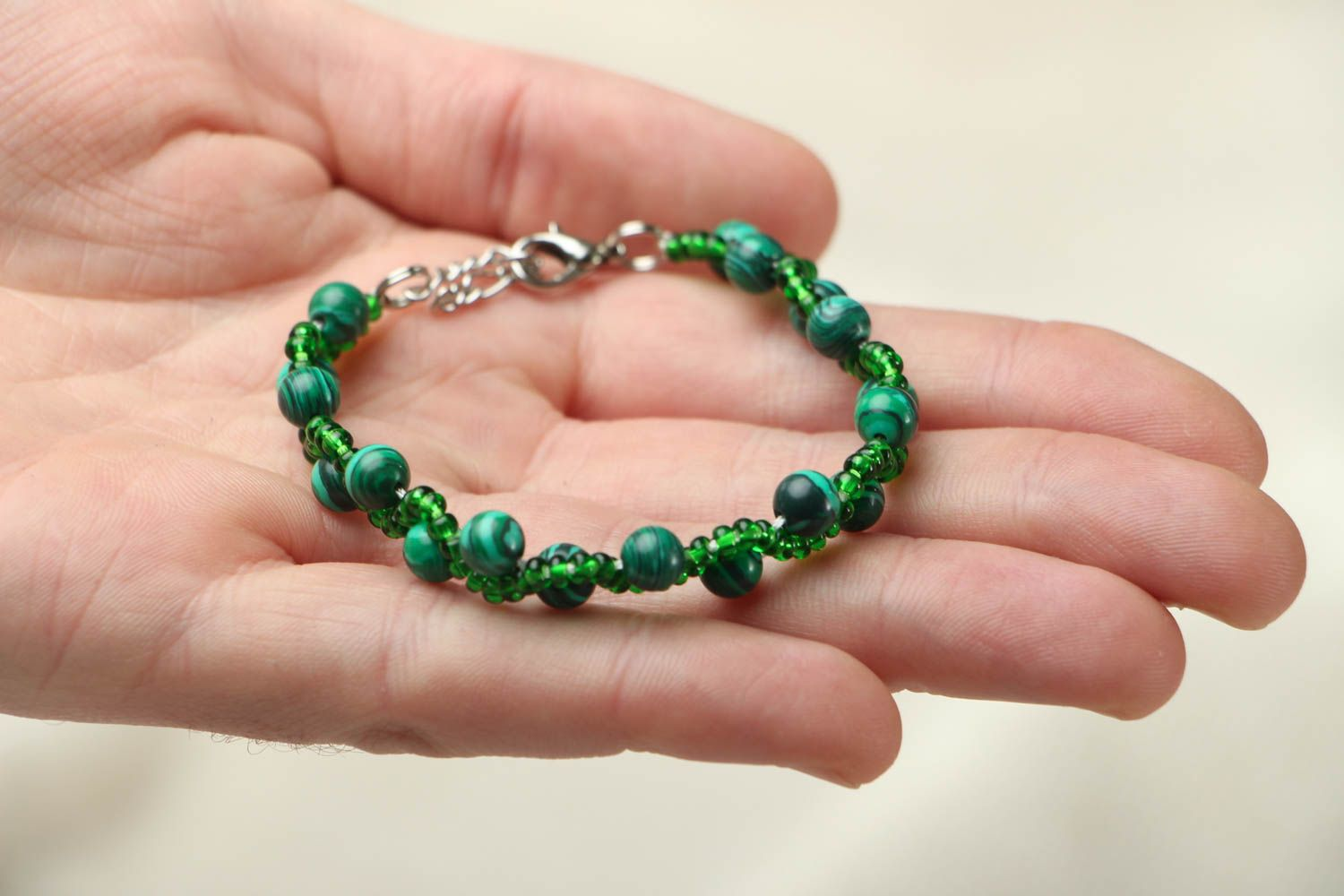 Malachite stone bracelet photo 3