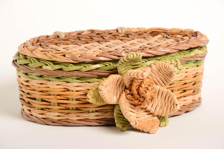 Madeheart cesta decorada de mimbre de papel artesanal - Cestas de mimbre ikea ...