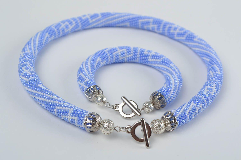 Schmuckset aus Glasperlen Armband und Litze hellblau handmade mit Mustern schön foto 4