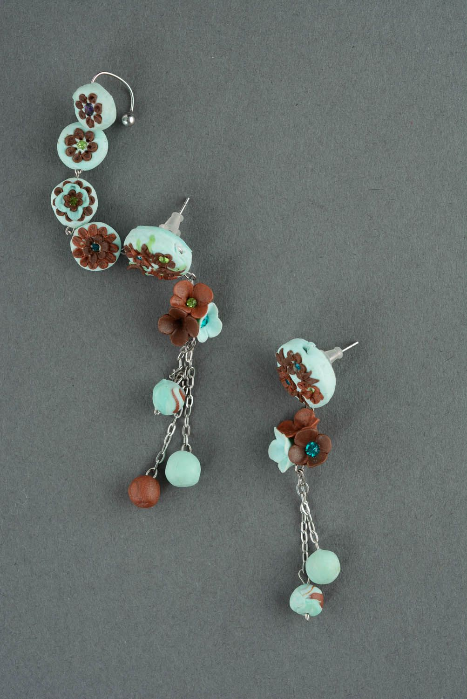 Polymer clay cuff earrings photo 2
