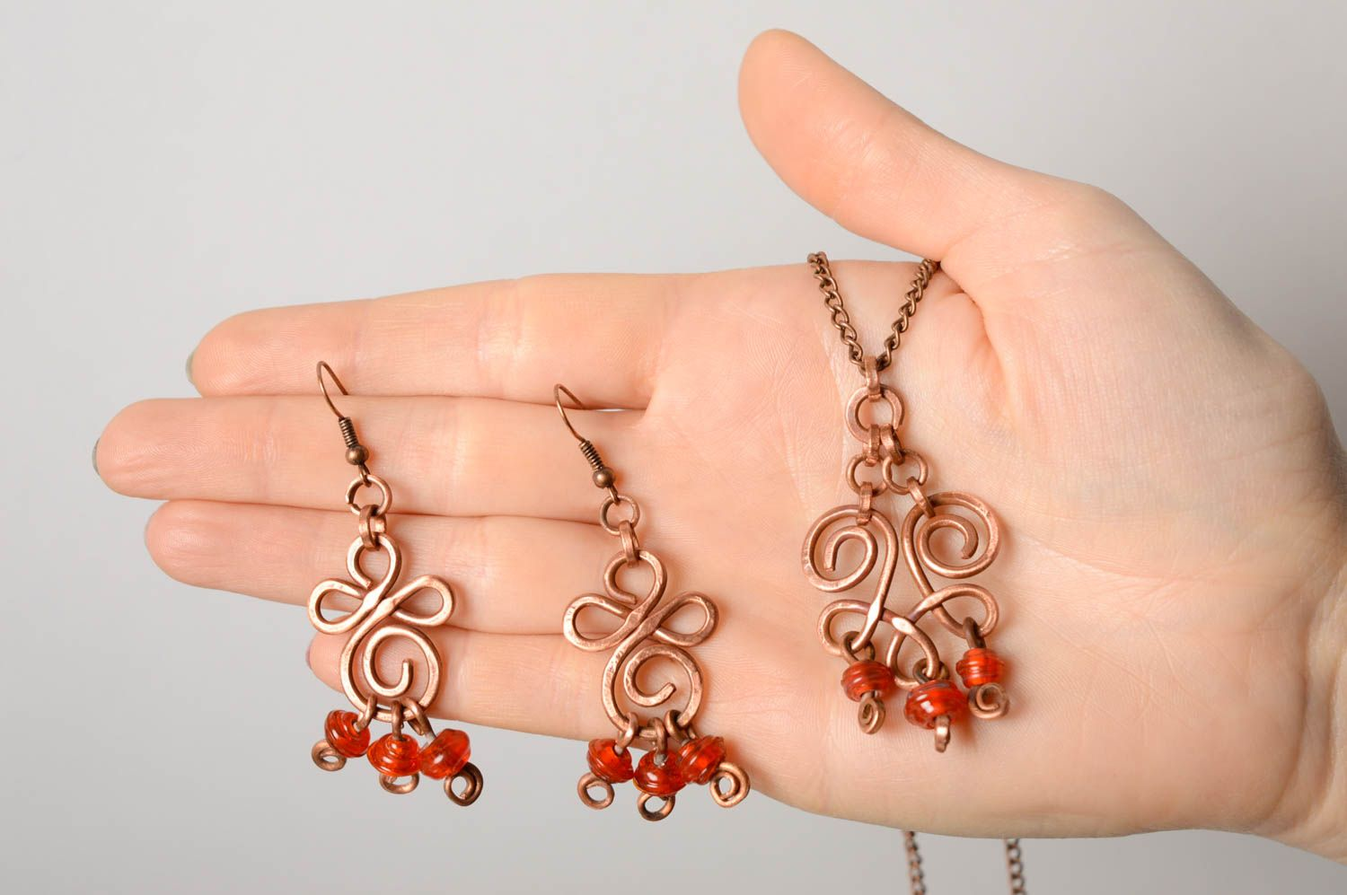 Wire wrap and lampwork jewelry set Autumn Berries photo 4