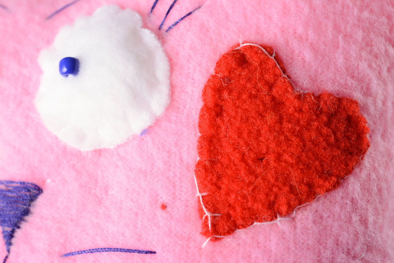 Fabric fleece toy Cat in Love photo 3