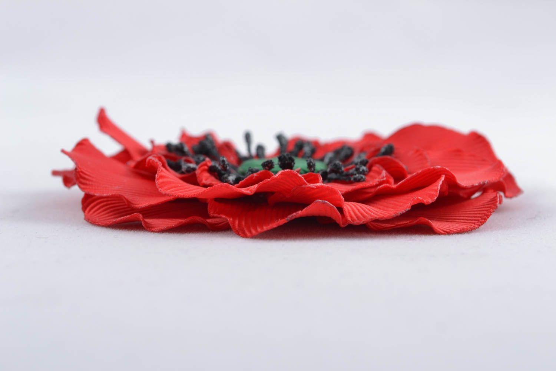 Ribbon flower for hair clip Poppy photo 2
