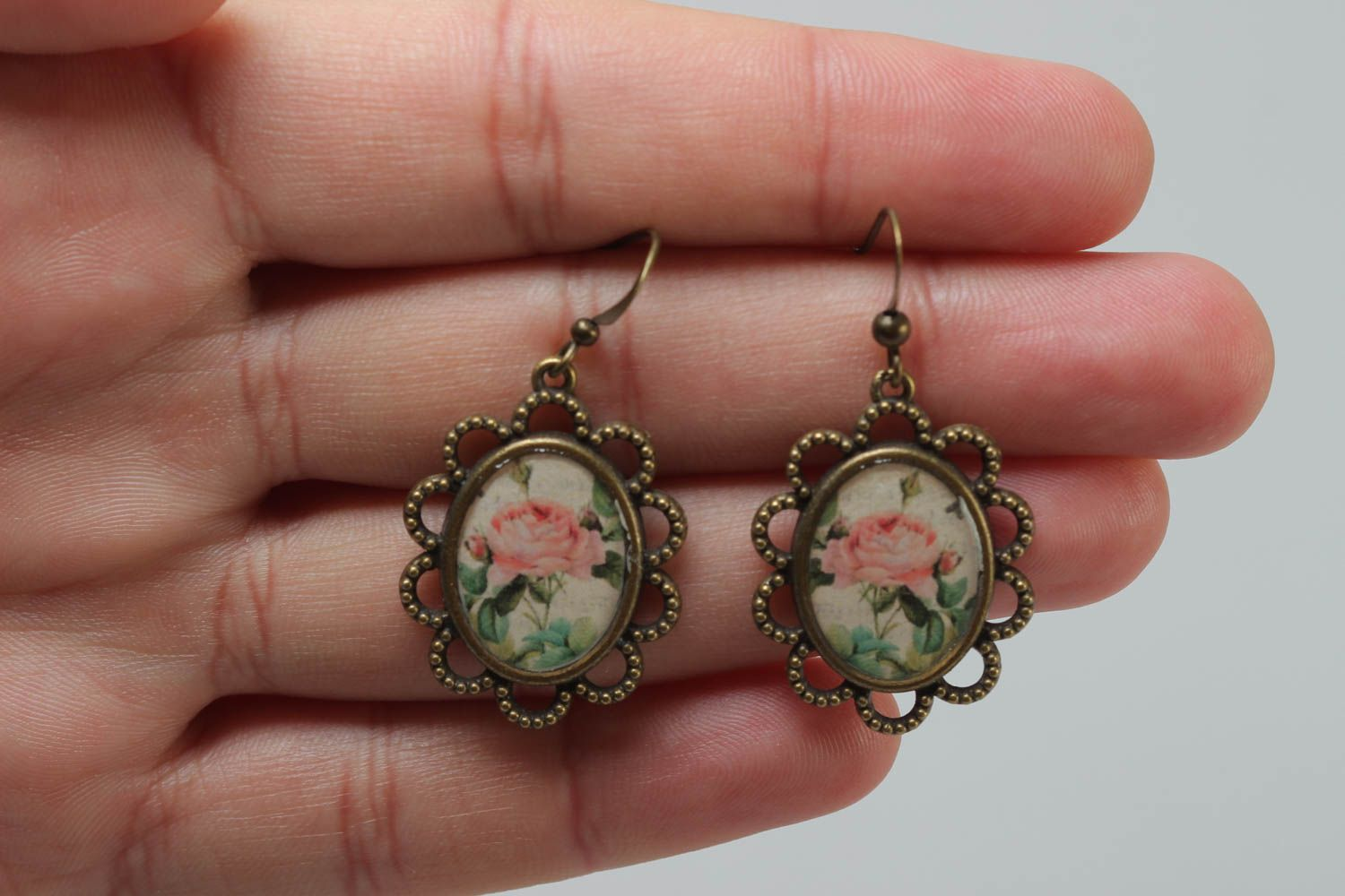 Women's beautiful handmade glass glaze oval earrings with roses photo 5