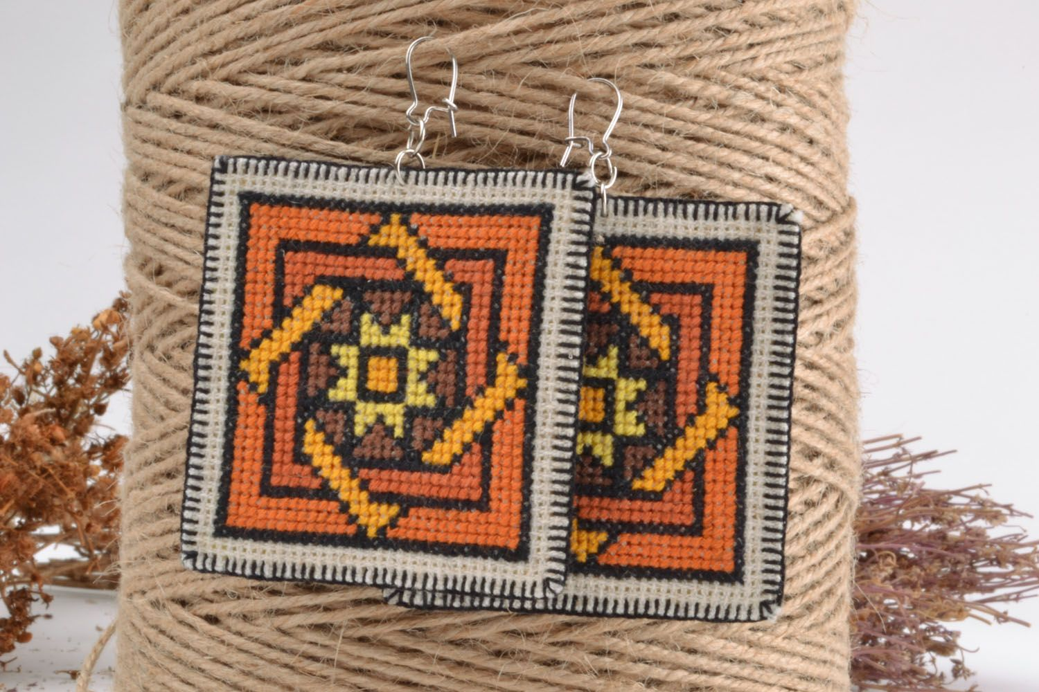 Unique embroidered earrings photo 1