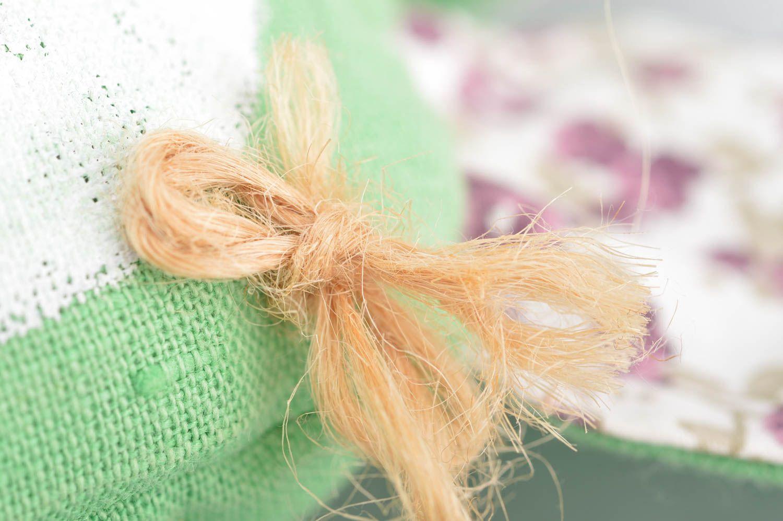 Handmade decorative soft toy sachet pillow green rabbit with lavender  photo 4