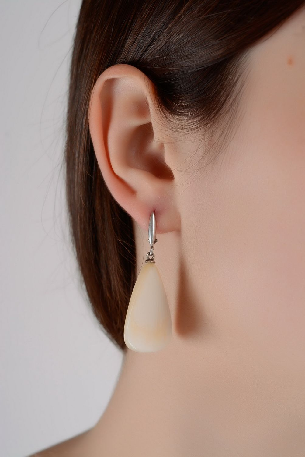 dangle earrings Silver earrings with a natural horn