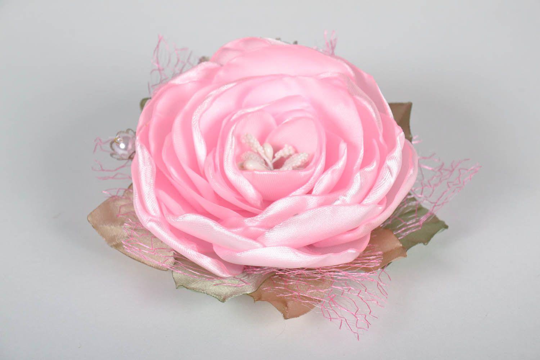 Pink satin brooch photo 2