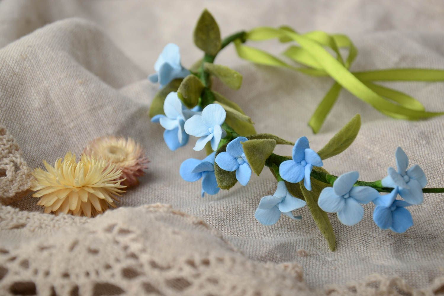 Handmade tender thin headband with polymer clay blue flowers and ribbon photo 1