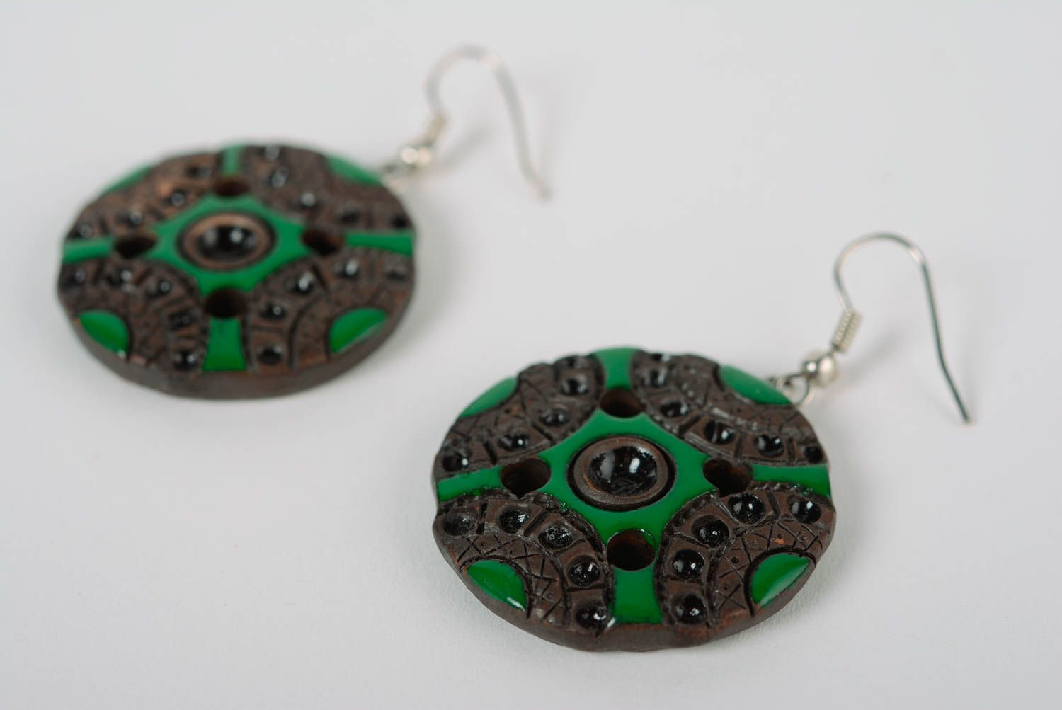 dangle earrings Handcrafted designer unique round ceramic earrings with colored enamel paintings   - MADEheart.com