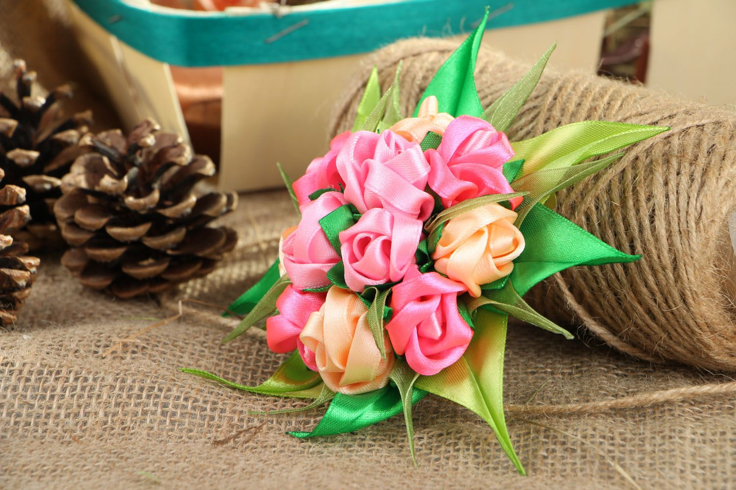 Satin ribbon hair clip Bouquet of Roses photo 5