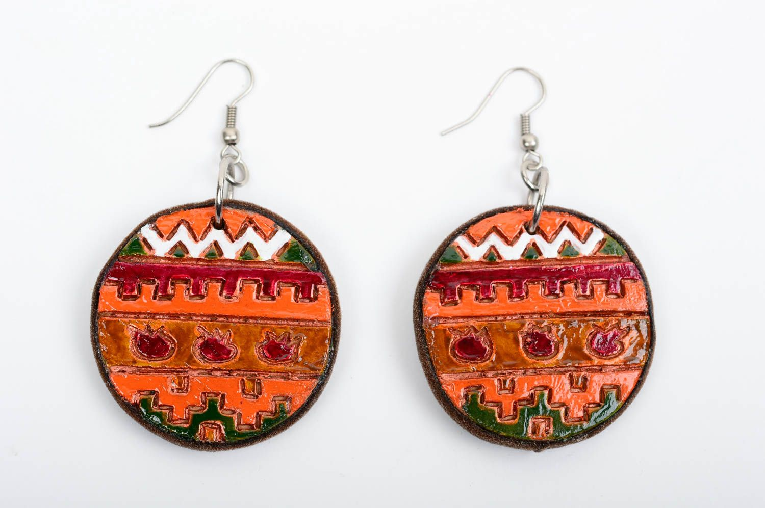 Beautiful handmade ceramic earrings painted clay earrings cool jewelry photo 1