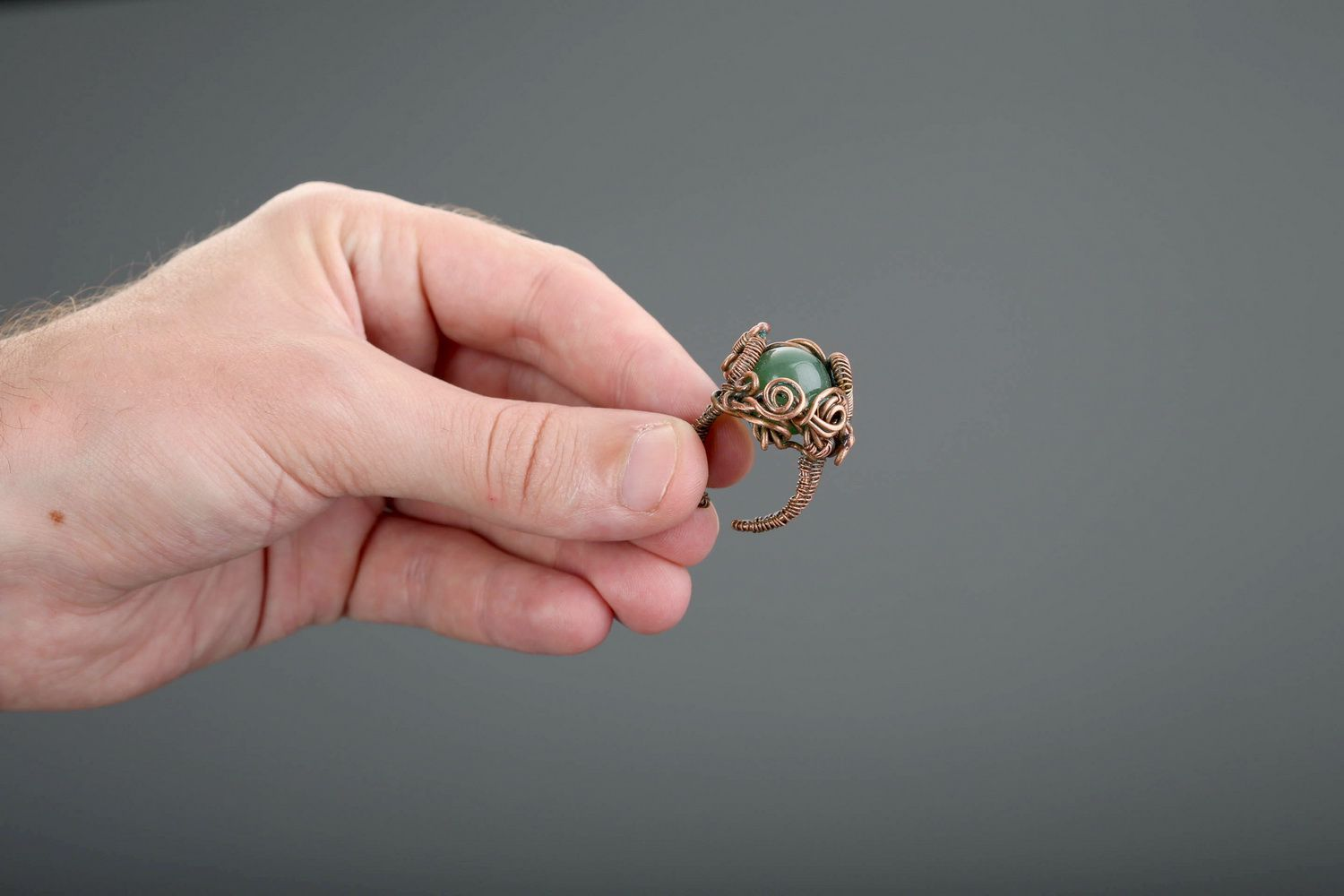 Copper ring with nephrite photo 5