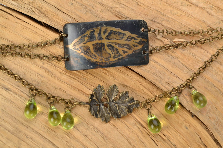 metal cuff bracelets Brass bracelet with leaves - MADEheart.com