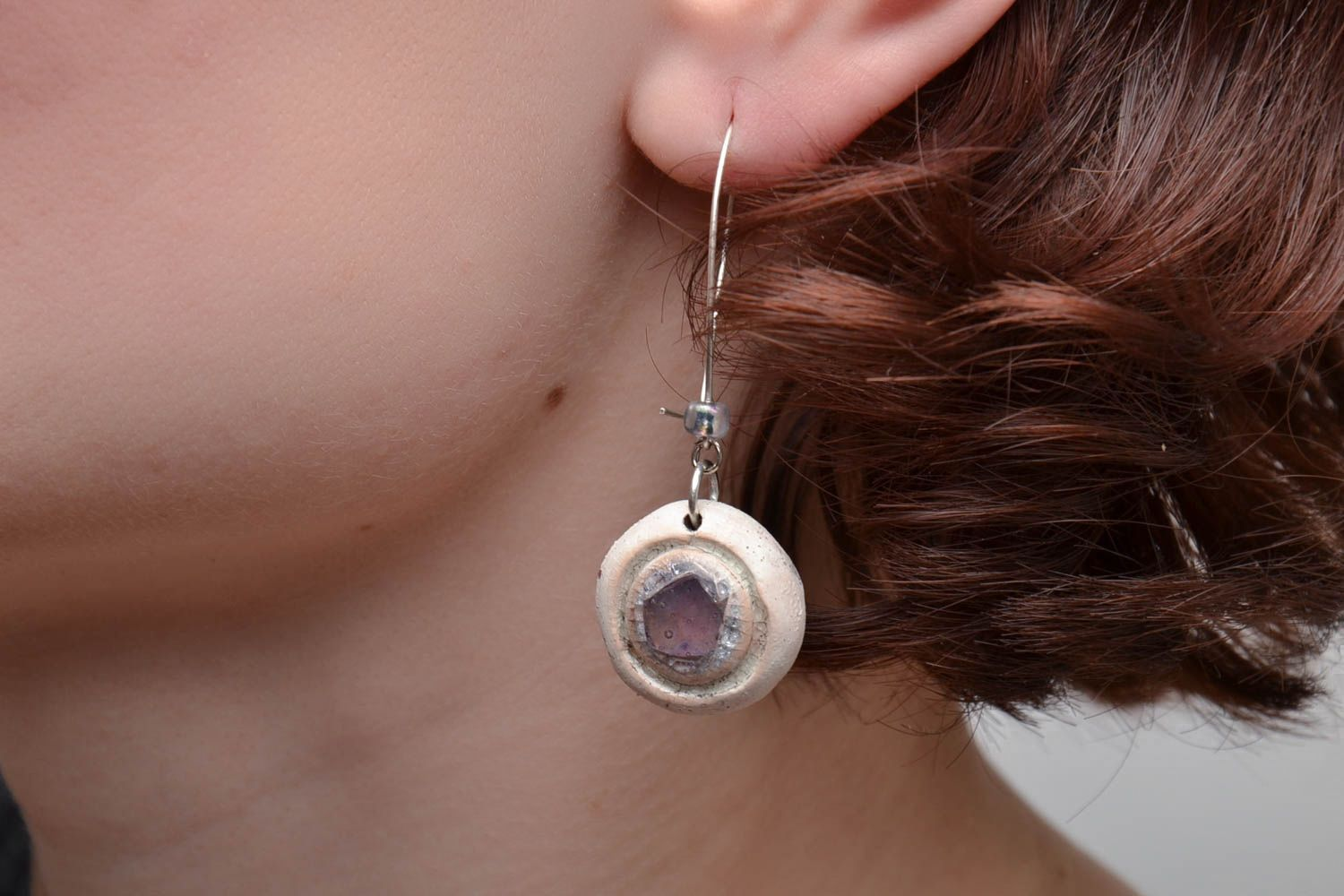 Round ceramic earrings with colorful glass Violet photo 5