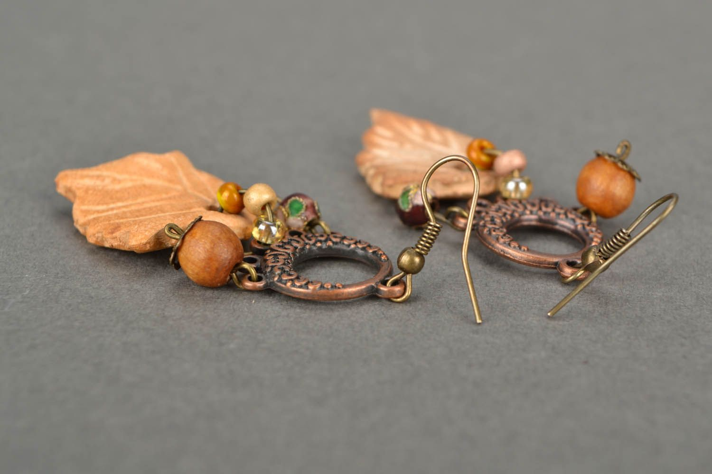 Lange Ohrringe aus Keramik Blätter  foto 4