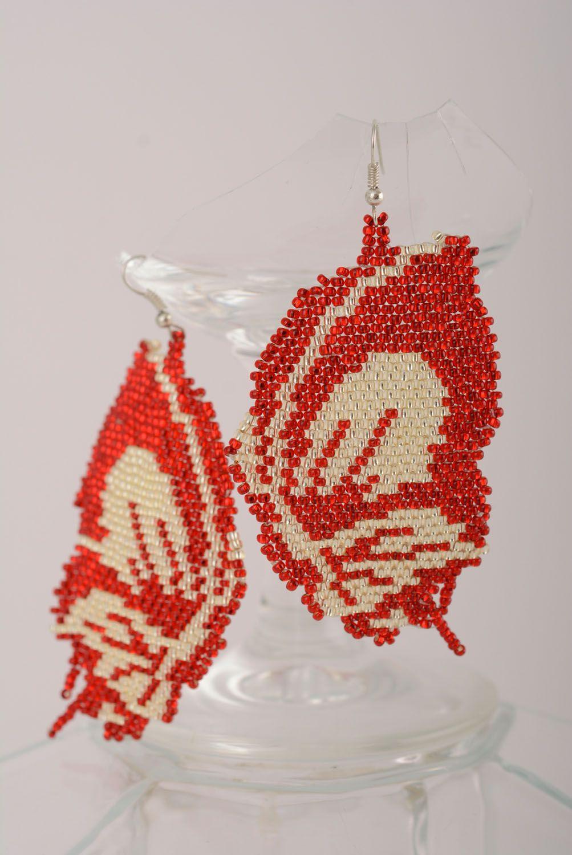 Beaded earrings Butterflies photo 1