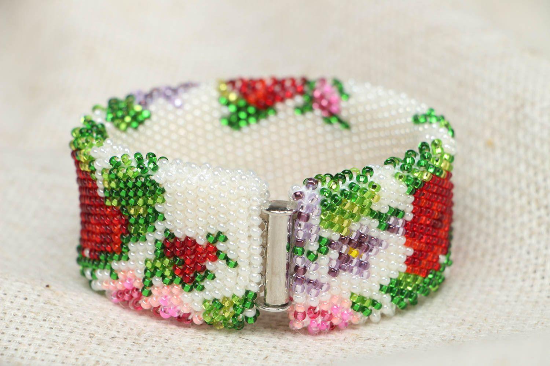 Wide beaded bracelet Victorian Garden photo 3