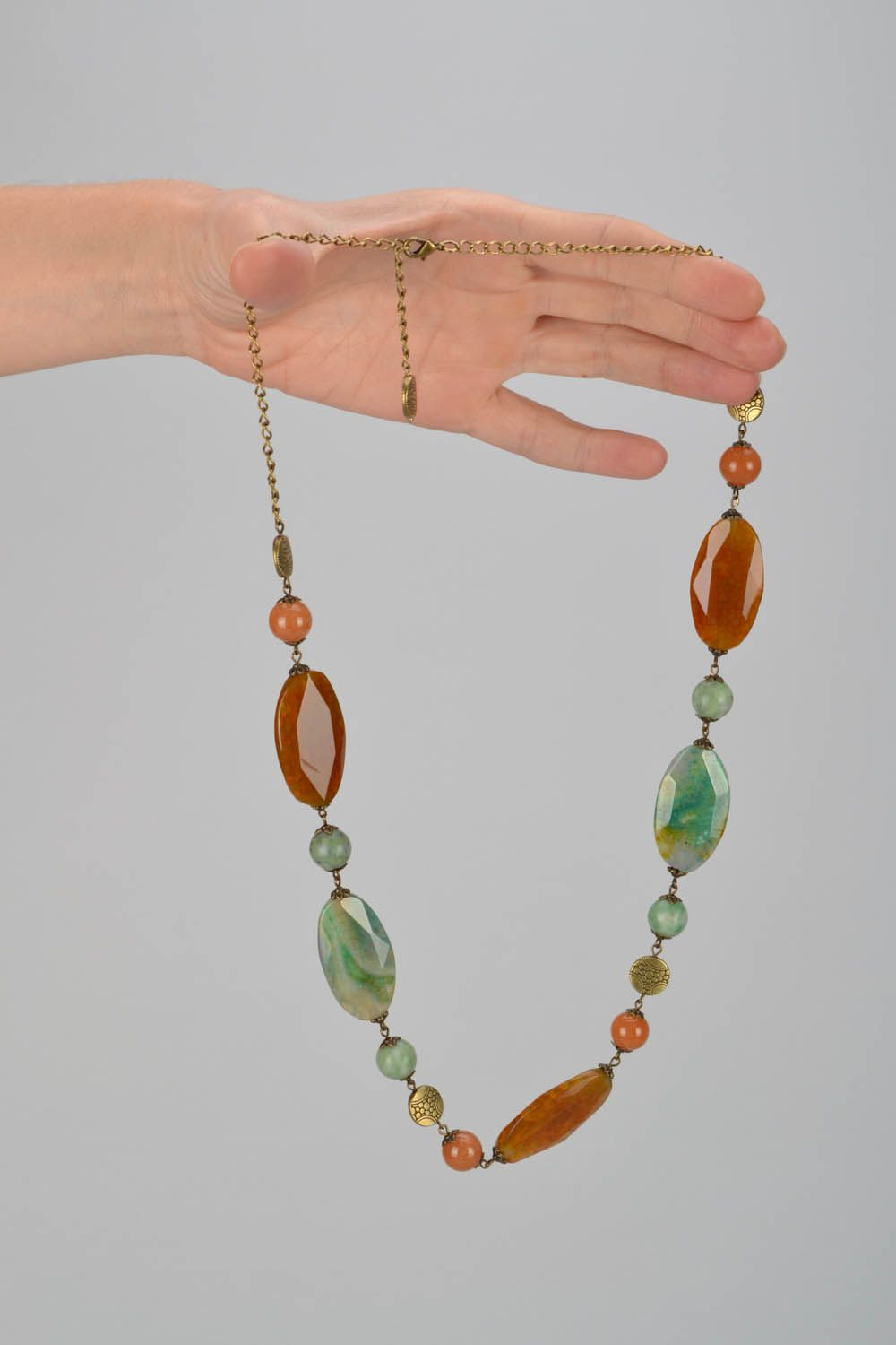 Beaded necklace made of natural stones Autumn photo 2